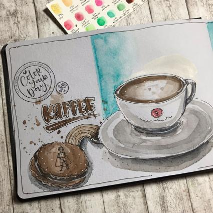 Urban Sketching, Hahnemühle, Interview, Urban Watercolor Sketching, Urban Sketcher, Toned Watercolour Book, Skizzenbuch, Skizzenblock, getöntes Papier, Aquarellpapier, Illustration, Kafeetasse, Katja Werner, cube.w3