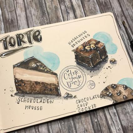 Urban Sketching, Hahnemühle, Interview, Urban Watercolor Sketching, Urban Sketcher, Toned Watercolour Book, Skizzenbuch, Skizzenblock, getöntes Papier, Aquarellpapier, Journal, Illustration, Kuchen-Illustration, Torte, Katja Werner, cube.w3